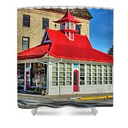 Pagoda Gas Station Shower Curtain