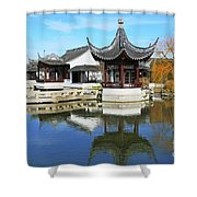 Pagoda In The Pool Shower Curtain