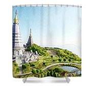 Pagoda On Doi Inthanon, Chiang Mai, Thailand.  Shower Curtain