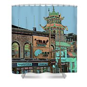 Pagoda Tower Chinatown Chicago Shower Curtain by Marianne Dow