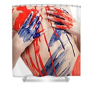 Paint On Woman Body Shower Curtain