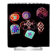 Painted Asteroids 1 Shower Curtain by Eikoni Images