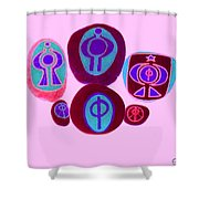 Painted Asteroids 12 Shower Curtain by Eikoni Images