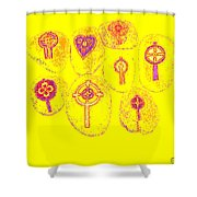 Painted Asteroids 2 Shower Curtain by Eikoni Images