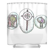 Painted Asteroids 5 Shower Curtain