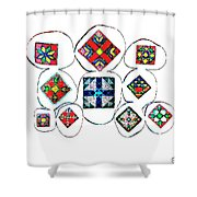 Painted Asteroids 7 Shower Curtain by Eikoni Images
