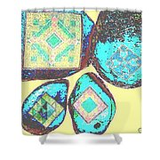 Painted Asteroids 8 Shower Curtain by Eikoni Images