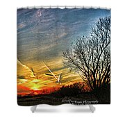Painted Autumn Sunset Shower Curtain