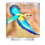 Painted Birds In Skyline Shower Curtain