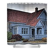 Painted Blue House Shower Curtain