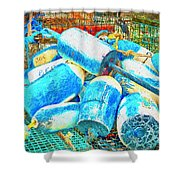 Painted Buoys Shower Curtain