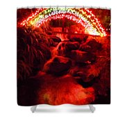 Painted Christmas Waterfall Shower Curtain