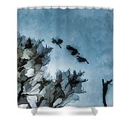 Painted Cranes Shower Curtain