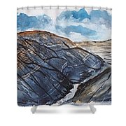 Painted Desert Landscape Mountain Desert Fine Art Shower Curtain