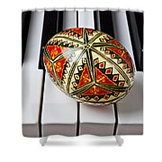 Painted Easter Egg On Piano Keys Shower Curtain