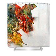 Painted Leaf Abstract 1 Shower Curtain