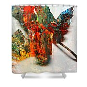 Painted Leaf Abstract 2 Shower Curtain