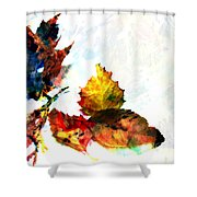 Painted Leaves Abstract 2 Shower Curtain