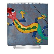 Painted Lizard Shower Curtain
