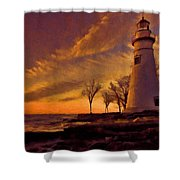 Painted Marblehead Lighthouse Shower Curtain