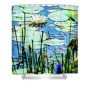 Painted North American White Water Lily Shower Curtain