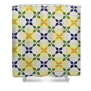 Painted Patterns - Floral Azulejo Tiles In Blue Green And Yellow Shower Curtain