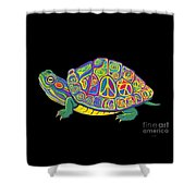 Painted Peace Turtle Too Shower Curtain