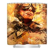 Painted Pilots At War Shower Curtain