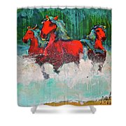 Painted Ponies -surf Run Shower Curtain