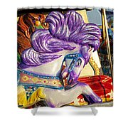 Painted Purple Pony Shower Curtain
