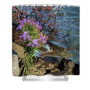 Painted River Flower Shower Curtain
