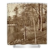 Painted Shore Camps In Sepia Shower Curtain