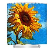 Painted Sunflower Shower Curtain