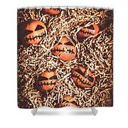 painted tangerines for Halloween Shower Curtain