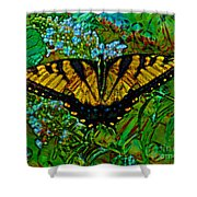 Painted Yellow Swallowtail Shower Curtain