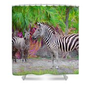 Painted Zebra Shower Curtain