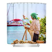Painter At Work, Holetown Beach, Barbados Shower Curtain