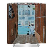 Painter In Venice Shower Curtain