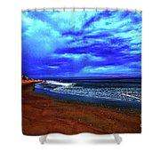 Painterly Beach Scene Shower Curtain