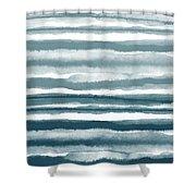 Painterly Beach Stripe 1- Art By Linda Woods Shower Curtain