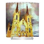 Painterly Church Shower Curtain