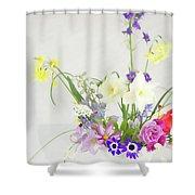 Painterly Homegrown Floral Bouquet Shower Curtain