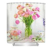 Painterly Ranunculus Tea Time Shower Curtain