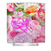 Painterly Tea Party With Fresh Garden Roses II Shower Curtain