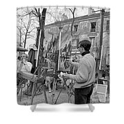 Painters In Montmartre, Paris, 1977 Shower Curtain