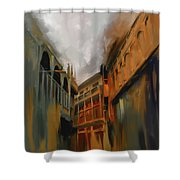 Painting 791 4 Wooden Architecture Shower Curtain