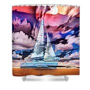 Painting Of Boats In Red Sunset Colors Shower Curtain