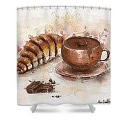 Painting Of Chocolate Delights, Pastry And Hot Cocoa Shower Curtain