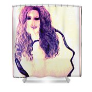 Painting Of Girl With Brown Hair Shower Curtain