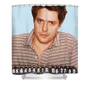 Painting Of Hugh Grant Mug Shot 1995 Black Color Shower Curtain
